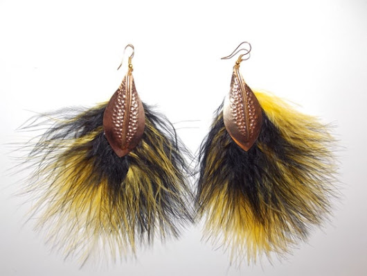 Yellow Feather Earrings  Elegant Dangle by KatalynaGonzalez