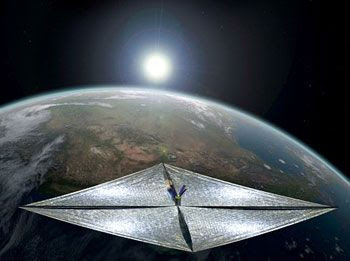 An art concept of the LIGHTSAIL-1 spacecraft in Earth orbit.