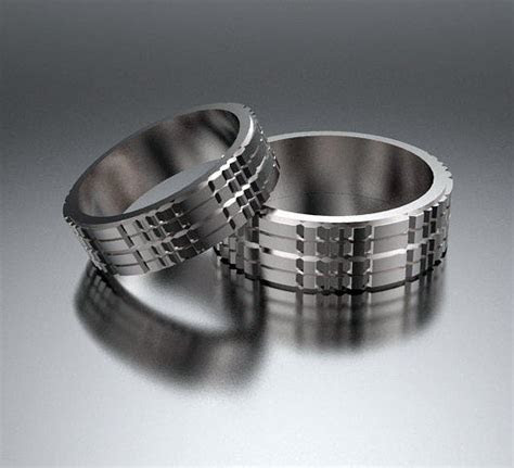His And Hers Simple 14k White Gold Matching Wedding Bands