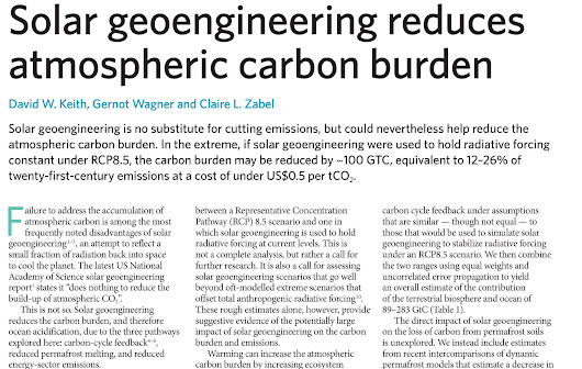 Solar geoengineering reduces atmospheric carbon burden