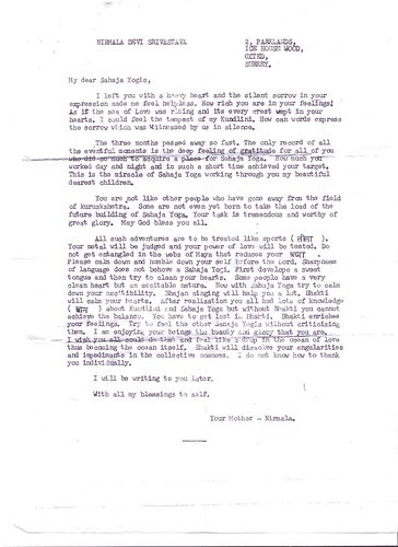 1975 Letter to Indian yogis