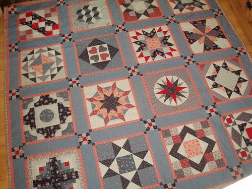 blue-pink-red sampler quilt