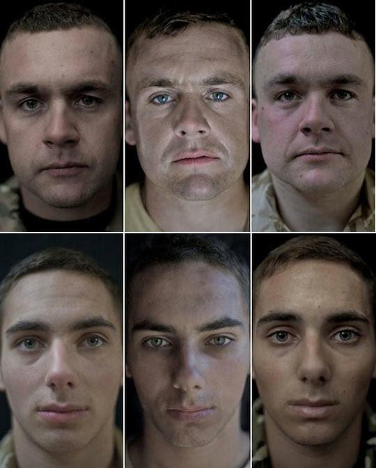 Rostos dos Soldados antes, durante e depois da guerra
