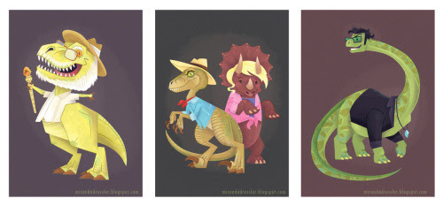 bombasticnerdtastic:<br /><br />mirandadressler:<br /><br />The Jurassic Park gang… dinosaur-i-fied!<br />For 'The Gang's All Here' show at Bottleneck Gallery, Brooklyn NYC.Check out bigger versions on my blog here! <br /><br />I am about to cry from perfection…<br />