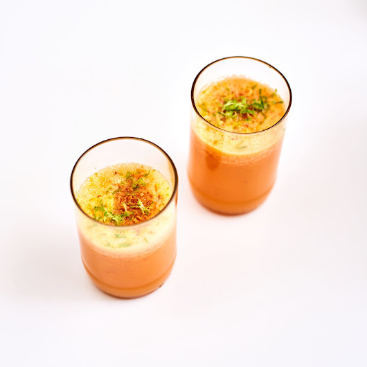Orange Carrot Smoothie with Turmeric and Toasted Coconut
