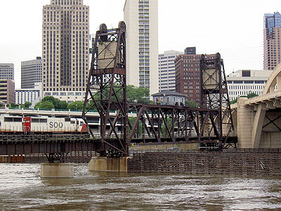 Soo Line train crossing on lift bridge