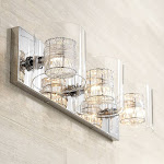 """Possini Euro Wrapped Wire 22"""" Wide Chrome Vanity Bath Light - Style # T8917"""