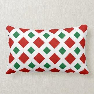 Red and Green Diamonds on White Throw Pillows