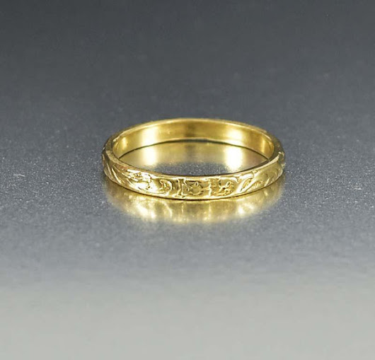 Art Deco 14K Gold Orange Blossom Wedding Band