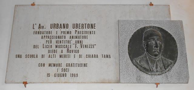 lapide Urbano Ubertone, Virgilio Milani, Conservatorio, palazzo Venezze, Rovigo