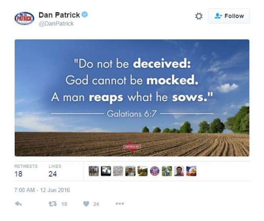 Texas Lt Gov. Dan Patrick Must Resign Over Anti-LGBT Tweets in Wake of Club Shooting