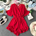 Sale NiceMix Sweet Ruffled Women Playsuits Elastic High Waist Bow Female Jumpsuit Romper Butterfly Sleeve Short Overalls for Girls