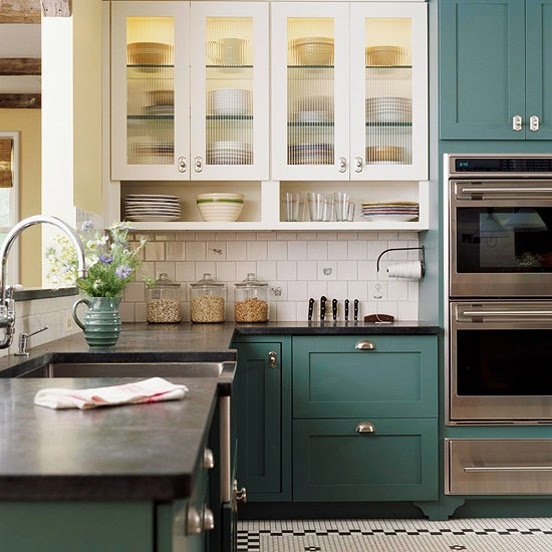 Trending - Dark Lower Kitchen Cabinets - The Decorologist