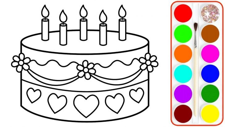 Cake Drawing And Colour