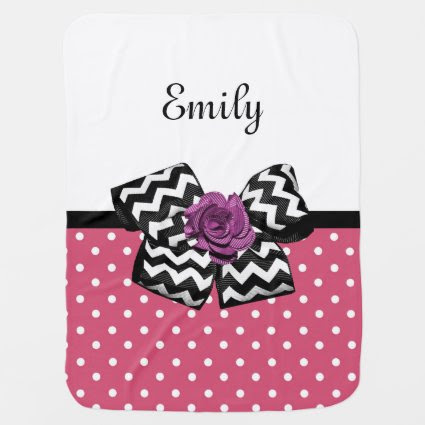 Cute Pink Dots Purple Rose Chevron Bow and Name Swaddle Blanket