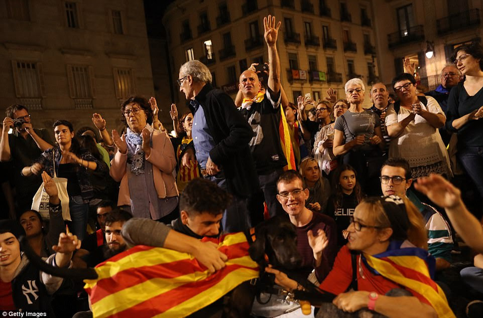 The measures must now be approved by Spain's upper house, the Senate, where a vote is scheduled for October 27. Protesters in Barcelona hope to put pressure on the Spanish government to change its mind