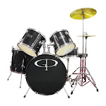 GP Percussion GP100 5-pc. Complete Drum Set - Black