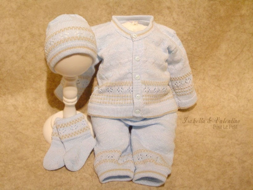 3m 3 month Baby Boy Handcrafted Blue Brown 4pc Knit Set Special Occasion Baby Clothing Christening Baptism Isabella and Valentino (i&v baby)