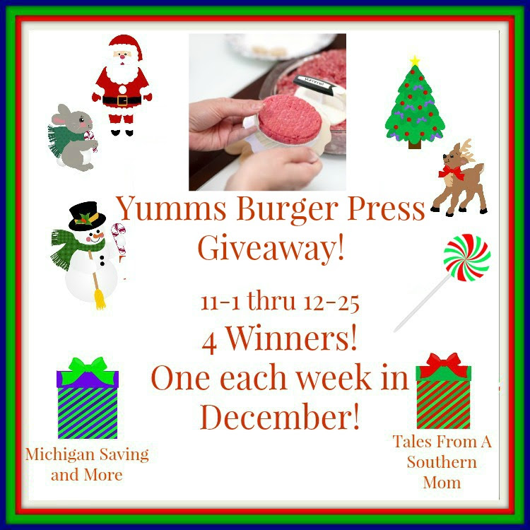 Enter the Yumms! Burger Press Giveaway. Ends 12/25