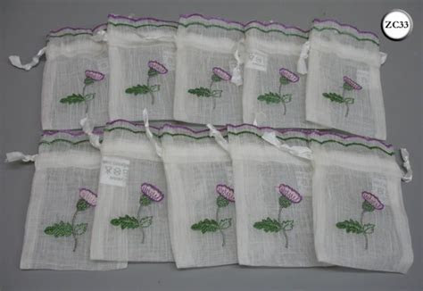10 Thistle Embroidered Scottish Wedding Favour Drawstring