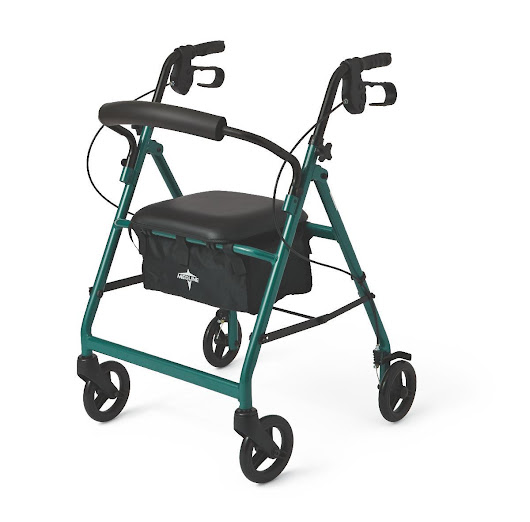 Medline / Guardian Steel Rollator (Green) 4-Wheel Rolling Walker w Seat & Brakes