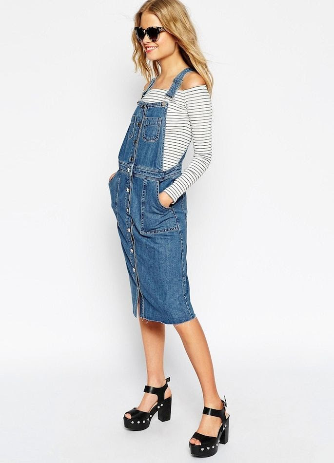 Le Fashion Blog Casual Chic Style Jean Overall Dress With Raw Hem Tort Sunglasses Off The Shoulder Striped Tee Black Platform Sandals