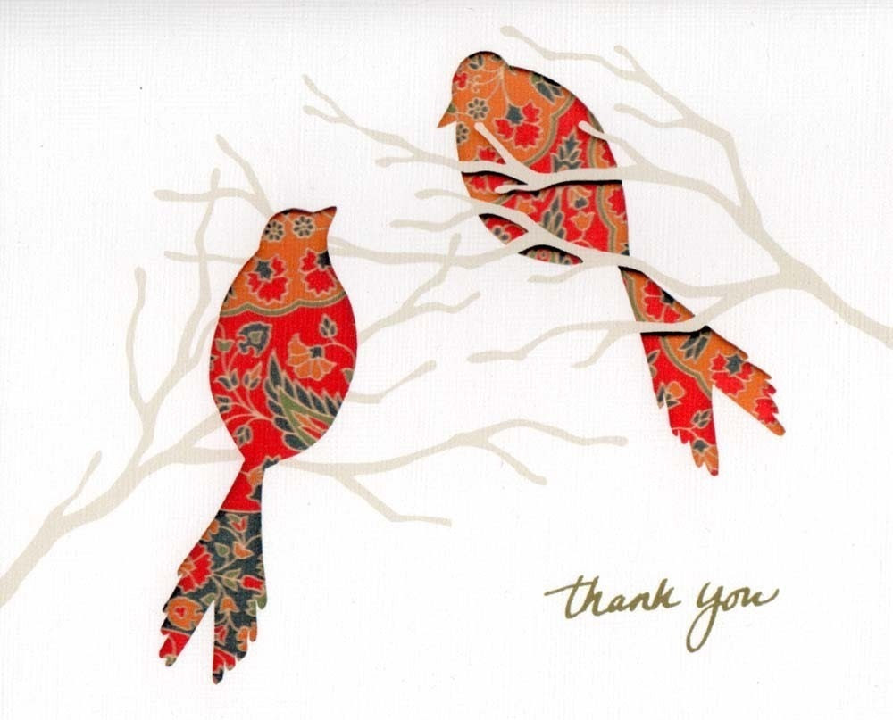 Thank You Card - Pattern Bird