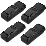HeroFiber Black Luggage Belts Suitcase Straps Adjustable and Durable, Travel Case Accessories, 4 Pack