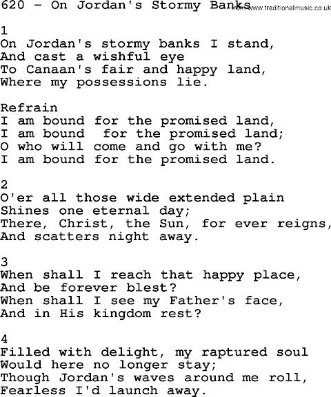 On Jordans Stormy Banks Lyrics Sda