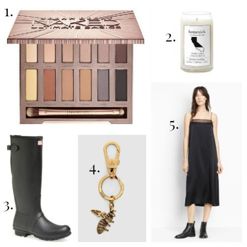 Urban Decay Eye Shadow - Homesick Candles - Hunter Boots - Gucci Key Ring - Vince Dress