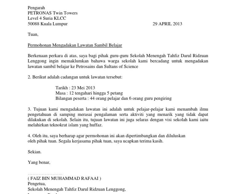 Surat Rasmi Permohonan Lawatan Sambil Belajar Ke Kilang Selangor U