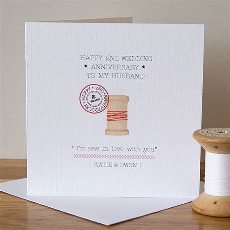 personalised second anniversary card by button box cards