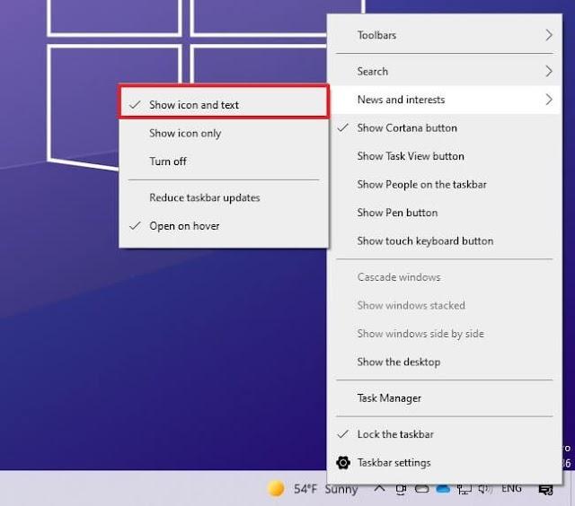 Cách bật/tắt News and Interests trên Windows 10 - Sửa lỗi đơ không ấn được vào Taskbar thanh công cụ