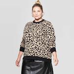 Ava & Viv Women's Plus Size Leopard Print Long Sleeve Crewneck Pullover Sweater, Size 3X