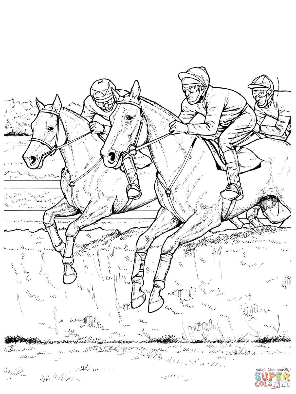 Disegno di Cavalli che saltano un ostacolo da colorare ...