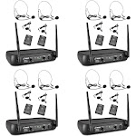 Pyle Pro Bodypacks, Lavaliers, Headsets VHF Wireless Microphone System (4 Pack) by VM Express
