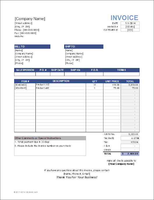 Free Sales Invoice Template