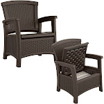 Suncast Elements Resin Wicker Design Club Chair with Storage, Java (2 Pack) by VM Express