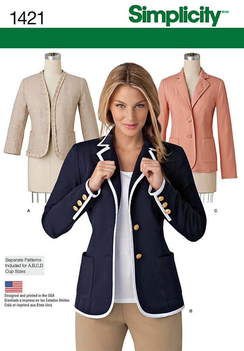 Simplicity Misses' Unlined Jacket with Collar and Finishing Variations 1421