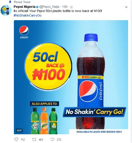 Drop Down Pepsi Officially Returns Price of Bottled Drink To N100