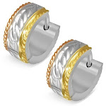 Stainless Steel Yellow Rose Gold-Tone Faceted Braided Design Womens Hoop Huggie Earrings