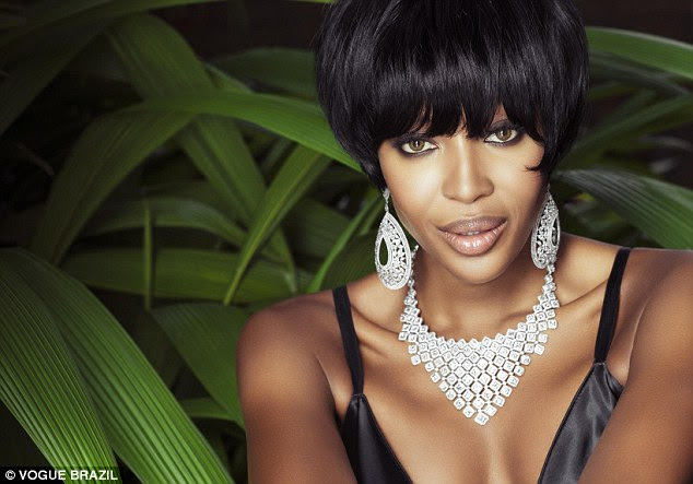 Dazzling: The model, who was spotted at the age of fifteen, showcases some dazzling jewels in the editorial