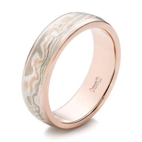 Custom Men's Rose Gold and Mokume Wedding Band #101261