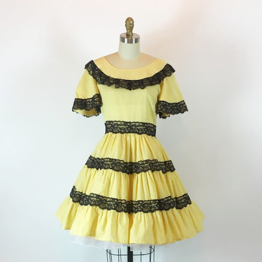 Vintage 60s Rockabilly Pinup Dress  Yellow by RetroThreadzVintage