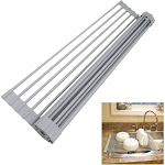 Evelots Over Sink-Silicone-Stainless Steel-Multi-Purpose-RollUp Dish Dry Rack
