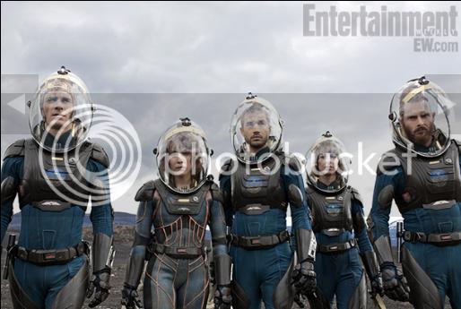 Michael Fassbender, Noomi Rapace, Logan Marshall Green, Katie Dickie and Sean Harris in Prometheus