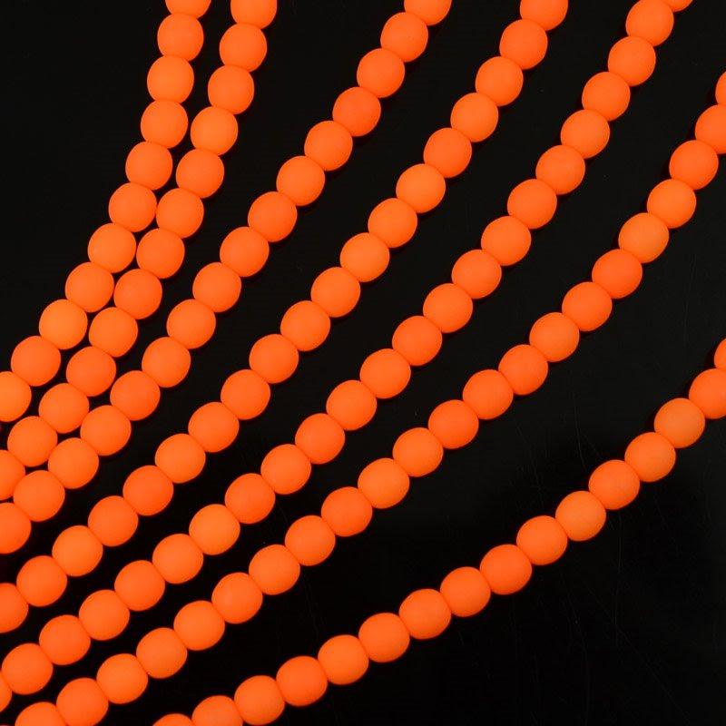s36700 Glass Beads - 4 mm Round - Neon Orange (strand)