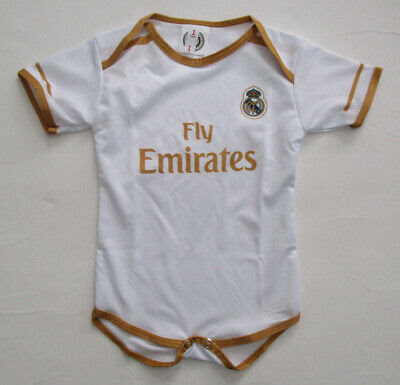 Real Madrid Infant Cotton Soccer Bodysuits OneSize White