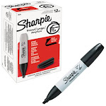 Sharpie Permanent Marker, 5.3mm Chisel Tip, Black, 12ct SAN 38201