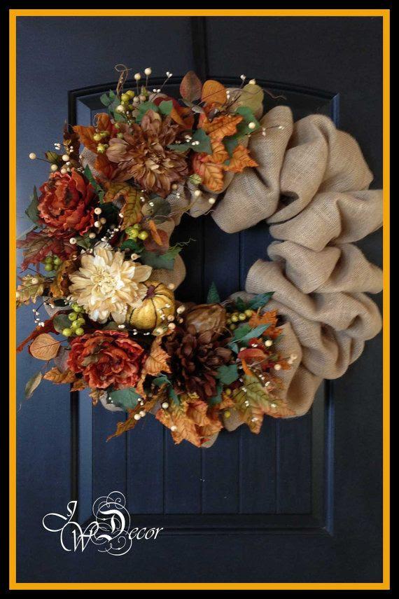 Fall Burlap Wreath Autumn Wreath Burlap Wreath Large by JWDecor, $149.00
